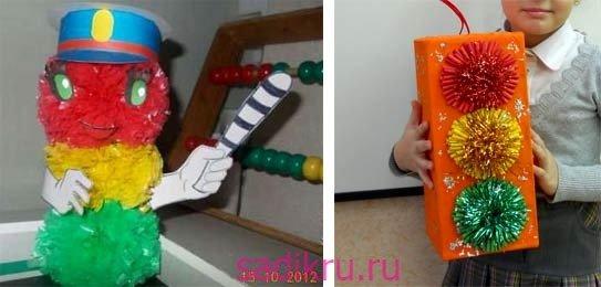 Как сделать светофор для детского сада своими руками из пакетов